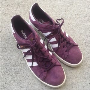 Purple adidas campus shoes